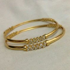 Gold and Diamond bangles. Gold bangles embellished with diamonds Kids Gold Jewellery, Gold Jewelry Simple, Gold Jewellery Design, Silver Jewelry, Jewellery Stand, Quartz Jewelry, Designer Jewellery, Craft Jewelry, Latest Jewellery