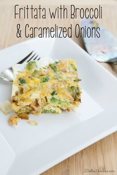 Broccoli and Carmelized Onion Frittata Recipe ~ part of our budget friendly Paleo dinner recipes series | 5DollarDinners.com