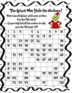 The Grinch Who Stole the Numbers! Your students will enjoy filling in this 120 chart. Such a fun way to assess your students on numbers.