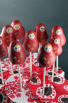 Matryoshka doll cake pops