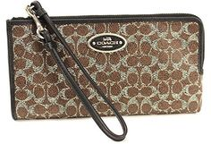 Coach Signature L-Zip Zippy Wallet Coated Canvas (Brown/Black)