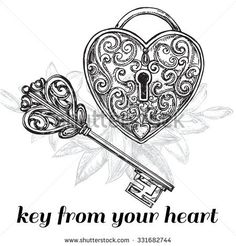 "The vector illustration ""hand drawn sketch illustration key and lock"" for design - Tattoo - Tatouage Heart Lock Tattoo, Lock Key Tattoos, Tattoo L, Body Art Tattoos, Cool Tattoos, Skull Tattoos, Key Tattoo Designs, Design Tattoo, Key Drawings"