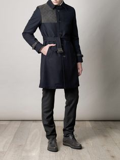 Rake coat, with Lanvin grosgrain-trimmed pants and shoes