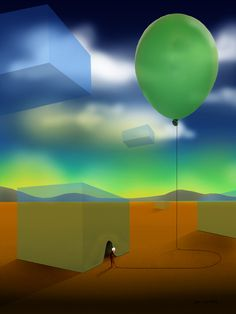 A surrealism image of a scene involving air. The giant cubes are translucent giving it a vision of it being full of air. The woman has a cloth over her face reminding us of the air we breathe. The woman is also holding a floating balloon which also involves air.