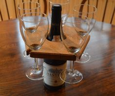 Picture of Make An Elegant Wine Glass Holder From White Oak Wine Bottle Glass Holder, Wine Glass Holder, Bottle Holders, Wooden Projects, Wood Crafts, Diy Projects, Wood Joinery, Wine And Beer, Wine Making