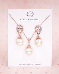Rose Gold Pearl Earrings, Cubic zirconia teardrop, Swarovski pearl, rose gold jewelry, bridal shower gifts, brides and bridesmaid earrings, wedding jewelry, www.glitzandlove.com