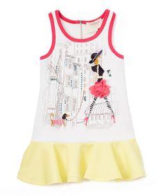 Another great find on #zulily! White Graphic Drop-Waist Dress - Toddler & Girls #zulilyfinds