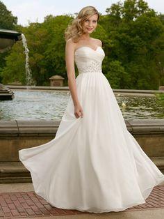 Swell Sheath Strapless Sweetheart Chiffon Wedding Dress with Ruche Bodice