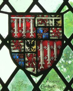 Armorial glass in St. Leonard's Church at Charlecote, Warwickshire, England.