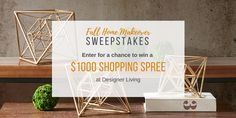 Enter for a chance to win a $1000, $250, or $100 gift card at Designer Living! It's quick, easy, and free. Share with your friends for bonus entries, too!  http://woobox.com/gwggc8/jedca9