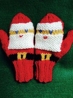 Ravelry: Jolly Santa Mittens pattern by Ann Faith Baby Mittens Knitting Pattern, Knit Mittens, Knitting Patterns Free, Free Knitting, Baby Knitting, Free Pattern, Crochet Mitts, Crochet Yarn, Crochet Santa