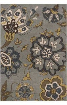 rug with slate and olive