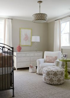 Neutral nursery.  Touches of pink + patterned pouf   Finnian's Moon Interiors