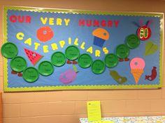 نتيجة بحث الصور عن the hungry caterpillar bulletin board ideas Caterpillar Bulletin Board, Hungry Caterpillar Classroom, Hungry Caterpillar Activities, Very Hungry Caterpillar, Preschool Classroom Decor, Preschool Bulletin Boards, Classroom Decor Themes, Preschool Door, Nursery Class Decoration