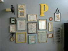 Command center wall I created from madeover Goodwill frames