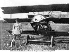 Lt Joseph Jacobs, Staffelfueher of J7 with his Fokker Dr.I