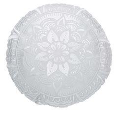 Coussin rond en coton brodé blanc D.45cm | Maisons du Monde