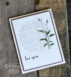Jen's fab card: World of Dreams, Dictionary, Forever Florals, Build a Banner kit. All supplies from Stampin' Up!