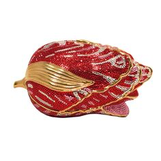 Judith Leiber Swarovski Crystal Red Rose Minaudiere Evening Bag | From a collection of rare vintage evening bags and minaudières at https://www.1stdibs.com/fashion/handbags-purses-bags/evening-bags-minaudieres/