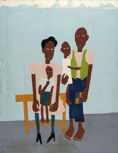 Folk Family Artist: William H. Johnson, born Florence, SC 1901-died Central Islip, NY 1970 Type: Graphic Arts-Print Date: ca. 1940-1941 African American Museum, African American Artist, American Artists, William H Johnson, Henry Johnson, Philadelphia Museum Of Art, T Art, Black Artists, Poses