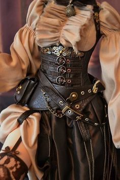 Steampunk outfit for bjd, by NikaNika.(body soom Super Gem, SD, Iplehouse SiD, E Brown steampunk style corset Costume Steampunk, Steampunk Outfits, Steampunk Pirate, Gothic Steampunk, Steampunk Clothing, Steampunk Fashion Women, Pirate Corset, Plus Size Steampunk, Steampunk Makeup