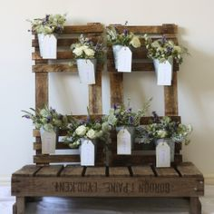 rustic wedding table plan flower pots - could we get flowers for 8 of these pots, can we use any of the flowers from the church for them?