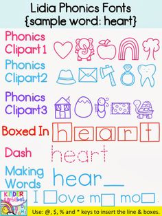 Phonics Fonts for Teachers! Includes 3 sets of pictures for beginning sounds. Perfect for making break the code activities.