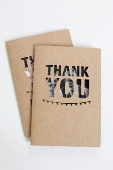 thank you card with outcut
