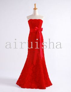 Ruby red mermaid strapless appliques tulle wedding gown