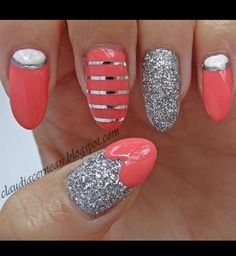 Love this pink glitter and silver nails