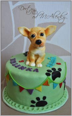 Dort s čivavou, Cake with chihuahua, Chihuahua fondant