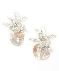 Another great find on #zulily! White Pearl Coin Drop Earrings by PANNEE JEWELRY #zulilyfinds