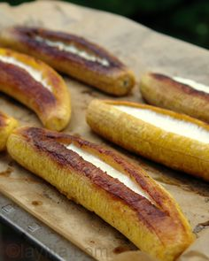 O MY GOODNESS! Ripe plantains stuffed with cheese--I want to try this with contija cheese. This recipe uses mozzarella. Sweet and Savory and total craving food!!!