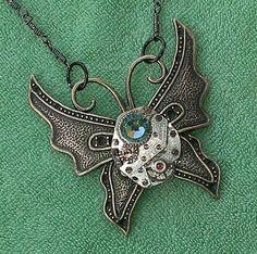VTG Swarovski Ruby Jeweled Steampunk Mechanical Butterfly Necklace $19.99 http://cgi.ebay.co.uk/130899651878