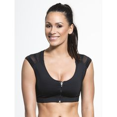 INTELLISKIN Essential Zip Bra (8,455 INR) ❤ liked on Polyvore featuring activewear, sports bras, zip sports bra, compression sports bra and zipper sports bra