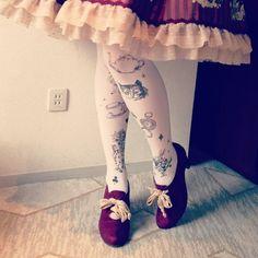 Alice in wonderland tights Bedazzled Shoes, Disneyland California Adventure, Childhood Stories, Lingerie Drawer, Fashion Socks, Lolita Fashion, Sock Shoes, Tights, Leggings