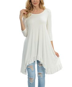 Look at this White Ruffle-Hem Sidetail Tunic on #zulily today!