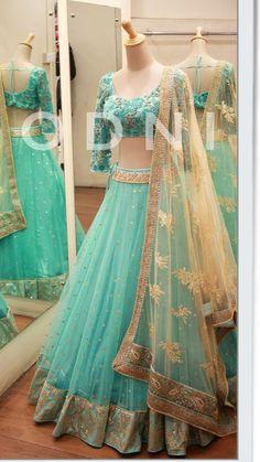 Baby blue with a hint of mint lengha paired with a biege dupatta Indian Bridal Outfits, Indian Bridal Lehenga, Indian Designer Outfits, Designer Dresses, Half Saree Lehenga, Lehnga Dress, Sari, Green Lehenga, Half Saree Designs