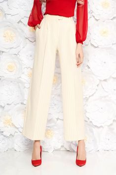 StarShinerS nude trousers with pockets office high waisted flared with vertical stripes, button and zipper fastening, with pockets, flared pants, vertical stripes