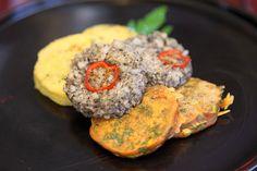 Three Colored Pancakes with Seasonal Vegetables (삼색전 = Samsaek Jeon). Vegetable Seasoning, Vegan Restaurants, Vegan Recipes, Menu, Vegetarian, Mille Crepe, Dishes, Vegetables, Crepes