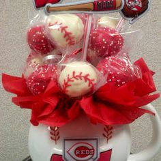 Cincinnati REDS cake pop bouquets