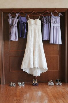 Each girl picked their own style and shade of purple - perfect way to blend our new family and have the girls feel like a part of the wedding day.