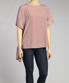 Love this Red & Sky Blue Heart Star Asymmetrical Top - Plus on #zulily! #zulilyfinds