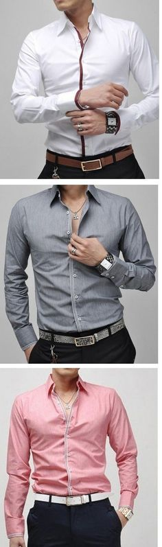 What you will get: 1 × shirts. Because of lighting and display, there will be a little color difference. Formal Shirts, Casual Shirts, Men Shirts, Urban Fashion, Mens Fashion, Style Urban, Mens Designer Shirts, Style Masculin, Camisa Polo