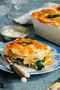Lasagne met pompoen, ricotta, salie en spinazie - Little Spoon - Vegan Recipes Easy, Veggie Recipes, Vegetarian Recipes, I Love Food, Good Food, Yummy Food, Veggie Lasagne, Healthy Cooking, Cooking Recipes