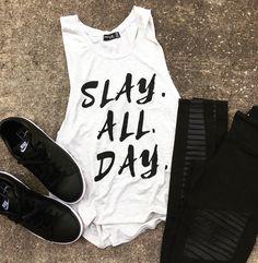 b436a1722 Slay All Day Muscle Tee, workout tank, slay shirt, Beachbody gym shirt, yoga,  funny shirt, workout shirt, slay all day, muscle shirt