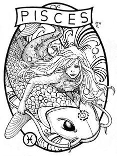 Virgin of Massica-Art on DeviantArt – virgo constellation tattoo Zodiac Art, Pisces Zodiac, Zodiac Signs, Pisces Tattoo Designs, Pisces Constellation Tattoo, Pisces Fish, Mermaid Tattoos, Mermaid Pisces Tattoo, Coloring Book Pages