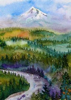 mt hood - Watercolor mountain - trees - River - sky