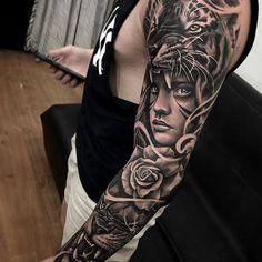 Sleeve tattoo Create your own tattoos, tattoo # own . Animal Sleeve Tattoo, Lion Tattoo Sleeves, Arm Sleeve Tattoos, Tattoo Sleeve Designs, Forearm Tattoos, Black Ink Tattoos, Fake Tattoos, Tattoos For Guys, Tattoo Japanese Style