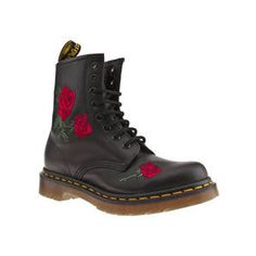 9b45467bd079 Women s Black Dr Martens 8 Tie Finda Roses Boots